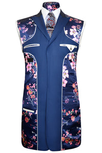 Lapis blue double plain peak lapel three piece frock coat suit with pink floral lining