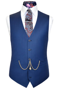 Lapis blue double plain waistcoat with pink floral back lining