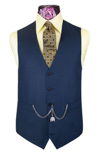 The Holland Admiral Blue Suit with Birdseye Pattern Waistcoat