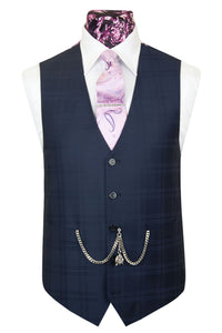 The Hermes Midnight Blue Suit with Navy Blue Overcheck Waistcoat