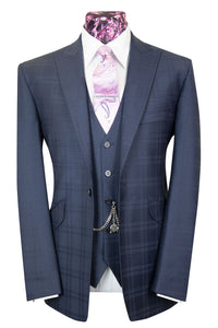 The Hermes Midnight Blue Suit with Navy Blue Overcheck