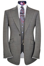 Elephant grey three piece peak lapel suit with white pinhead detail and multi-coloured floral lining