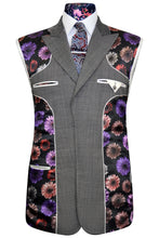 Elephant grey three piece suit with white pinhead detail and multi-coloured floral lining