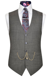 Elephant grey waistcoat with white pinhead detail and multi-coloured floral back lining
