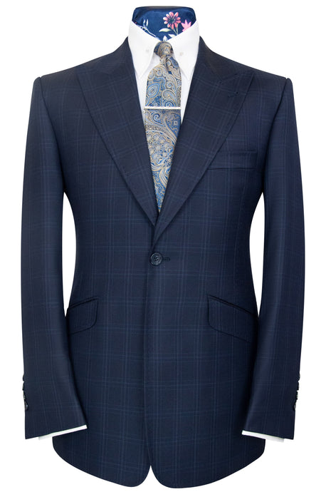 William Hunt Savile Row Federal blue shadow check two piece suit