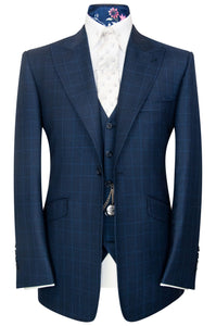 William Hunt Savile Row Federal blue three piece suit with cobalt overcheck