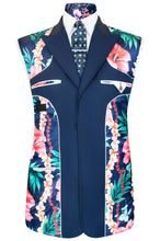 William Hunt Savile Row Federal blue three piece suit with blue base lining with tropical floral pattern