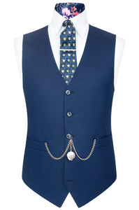 William Hunt Savile Row Federal blue waistcoat with blue base back lining with tropical floral pattern