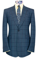 William Hunt The Morgan Blue Over Blue Windowpane Check Suit