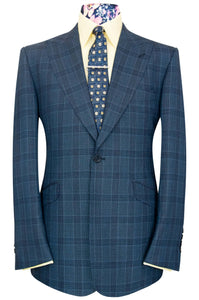 William Hunt Savile Row Blue over blue two piece windowpane check suit