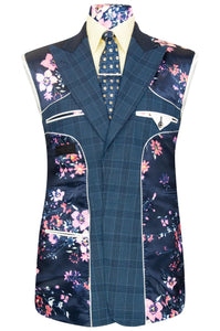 William Hunt Savile Row Blue over blue two piece windowpane check suit with blue base lining with pink floral bouquet highlights