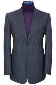 William Hunt Savile Row Charcoal two piece suit with purple pinstripe