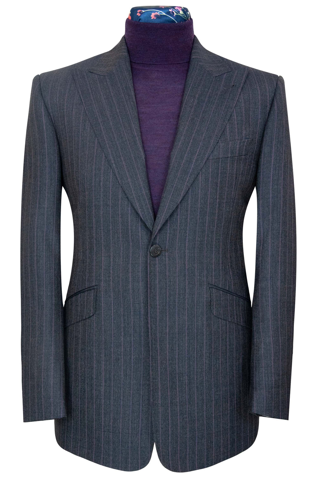 William Hunt Savile Row | The Blake Charcoal Suit with Purple Pinstripe