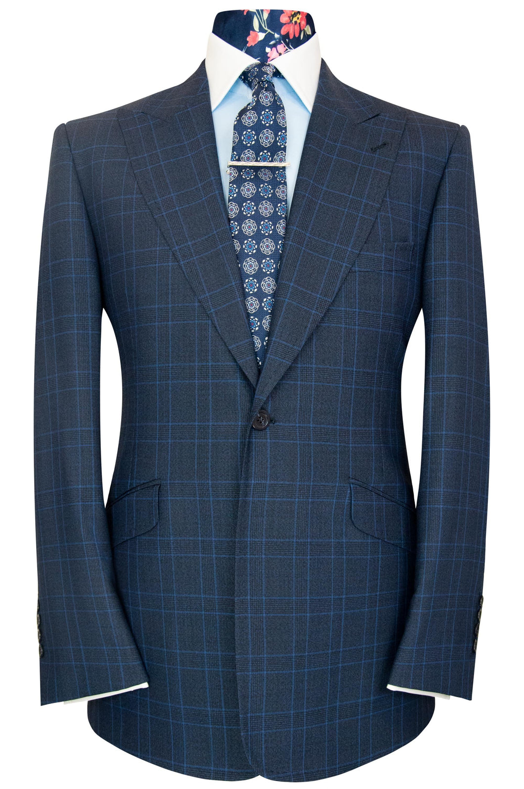 William Hunt Savile Row Cobalt over federal blue two piece windowpane check suit