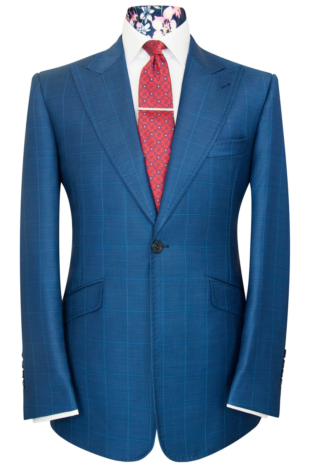 William Hunt Savile Row Cobalt blue two piece windowpane check suit