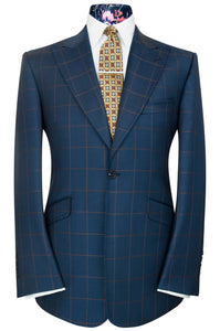 William Hunt Savile Row Navy blue two piece peak lapel suit with caramel overcheck