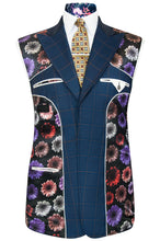William Hunt Savile Row Navy blue two piece suit with caramel overcheck and black base lining with multi-coloured floral pattern