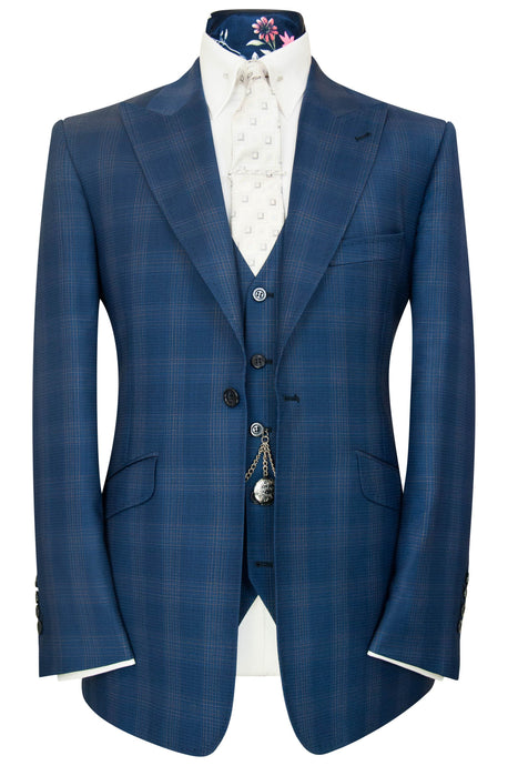 William Hunt Savile Row Barley over navy three piece peak lapel windowpane check suit