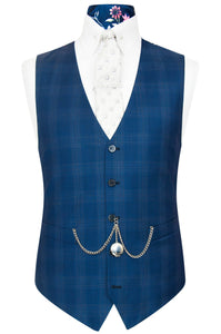 William Hunt Savile Row Barley over navy windowpane check waistcoat featuring a back blue base lining with pink floral bouquet highlights
