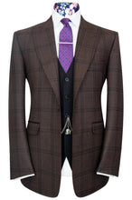 Copper peak lapel jacket with black windowpane check