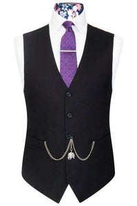 Black 5 button v-shaped waistcoat with welt pockets and multi-coloured floral pattern back lining