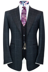 William Hunt Savile Row Charcoal grey jacket with chalk windowpane check