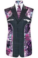 William Hunt Savile Row Charcoal grey jacket with chalk windowpane check featuring a striking purple floral lining with pink and white highlights