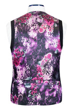 Black 5 button v-shaped waistcoat with welt pockets and purple floral back lining with pink and white highlights