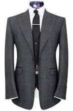 William Hunt Savile Row | The Blake Grey Melange Prince of Wales Check Jacket with Black Waistcoat & Trousers