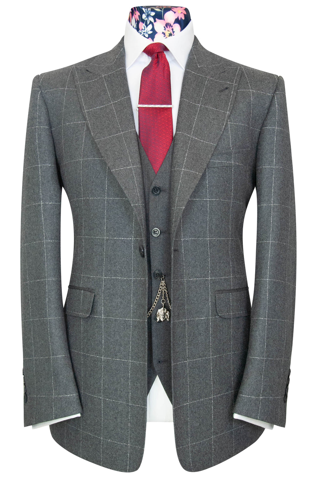 William Hunt Savile Row Dove grey jacket with white windowpane check.