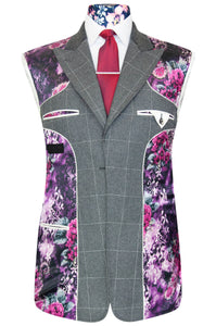 William Hunt Savile Row Dove grey peak lapel jacket with white windowpane check and striking purple floral lining with pink and white highlights