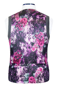 Grey 5 button v-shaped waistcoat with welt pockets and striking purple floral back lining with pink and white highlights