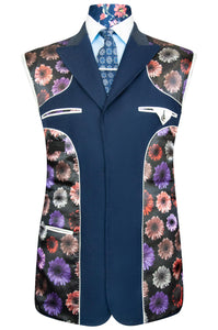 Navy Blue two piece peak lapel suit with black base lining with multi-coloured floral pattern