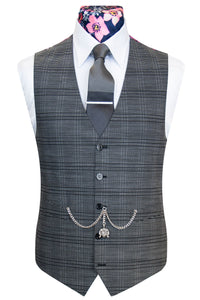 The Cringleford Grey with Black Overcheck Front Waistcoat