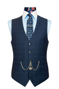 William Hunt Savile Row | The Blake Navy Blue Windowpane Check Suit