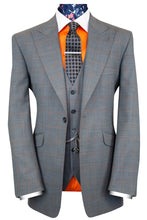 The Atwell Soft Grey with Orange Windowpane Check Suit