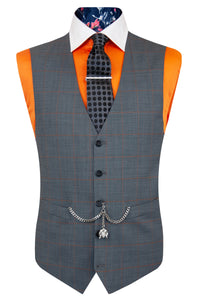 The Atwell Soft Grey with Orange Windowpane Check Waistcoat Front