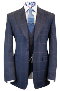 The Cavill Navy with Faint Red Windowpane Check Suit