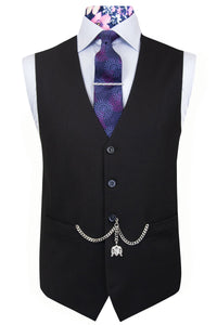 The Ezra Charcoal Grey with White Chalk Check Jacket with Grey Waistcoat & Trousers Waistcoat