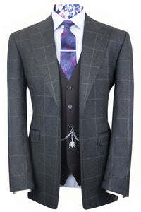 The Ezra Charcoal Grey with White Chalk Check Jacket with Grey Waistcoat & Trousers