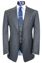 The Deopham Charcoal with Cerulean Windowpane Check Suit