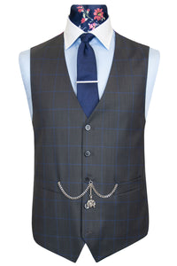 The Deopham Charcoal with Cerulean Windowpane Check Front Waistcoat