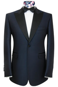 William Hunt Savile Row Navy two piece peak lapel jacquard check dinner suit