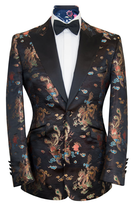 The Ashton Black Oriental Print Dinner Jacket