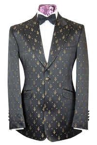 The Louis Black with Gold Fleur De Lis Print Dinner Jacket