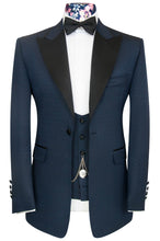 William Hunt Savile Row Blue over navy regency jacquard three piece peak lapel dinner suit