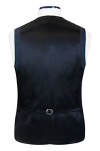 William Hunt Savile Row Blue over navy regency jacquard waistcoat with black back lining