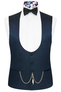 William Hunt Savile Row Cobalt Blue Jacquard Waistcoat with Classic Black Back Lining