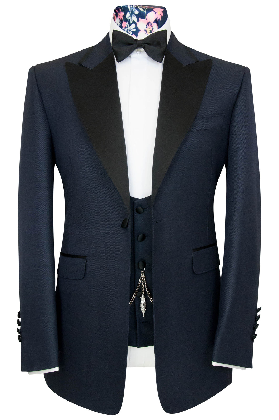 William Hunt Savile Row Midnight Blue Rib Three Piece Peak Lapel Dinner Suit