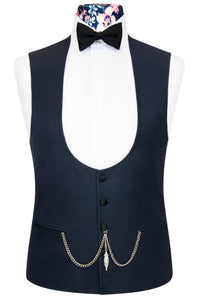 William Hunt Savile Row Midnight Blue Rib Waistcoat with Classic Black Back Lining